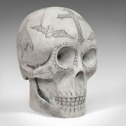 Vintage Decorated Skull English Marble Ornament Hand Finished D. Hurley