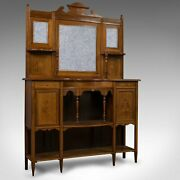 Antique Sideboard, English, Rosewood, Dresser, Boxwood Inlay, Victorian, C.1900