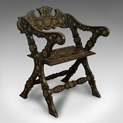 Antique X-frame Chair Middle Eastern Mahogany Seat Bone Inlay Circa 1850