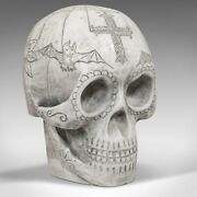 Vintage Hand Decorated Skull, English, Marble, Ornament, Paperweight, D. Hurley