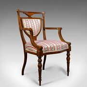 Antique Elbow Chair Rosewood English Open Armchair Maple And Co. Circa 1910