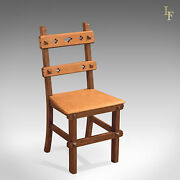 Antique Hall Chair Arts And Crafts English Oak Dining Seat Victorian C.1900