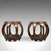 Pair Of Vintage Chinese Barrel Side Tables Huali Rosewood Stools C20th