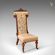 Antique Prie Dieu Chair Needlepoint Seat English Victorian Rosewood C.1850
