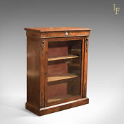 Antique Pier Cabinet Burr Walnut Glazed Cupboard French Period Furniture C1880