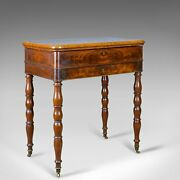 Antique Sewing Table English Victorian Flame Mahogany Side C19th C.1840