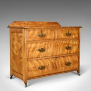 Antique Chest Of Drawers, Satinwood, English, Victorian Bedroom Circa 1900