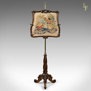Antique Pole Screen Early Victorian Rosewood English Needlepoint Tapestry