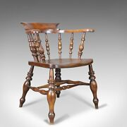 Antique Bow Chair Smokers Captains English Victorian Elm Windsor C.1870