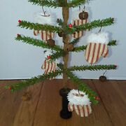Primitive Christmas Faux German Feather Tree With Pips And Mitten Ornies