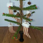 Primitive Christmas Faux German Feather Tree With Pips And Stocking Ornies