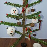 Primitive Christmas Faux German Feather Tree With Pips And Snowmen Ornies