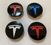Tesla Model 3 X S Y Wheel Center Caps Black W/ Vinyl Wrapped Logo Many Colo