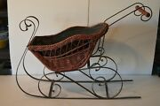 Vintage 31 Antique Cherry Wicker Doll Sleigh Display Ride Baby Wrought Iron