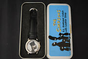 The Simpsons Bart Analog Watch With Leather Strap Wesco 1996 Rare Tin Case