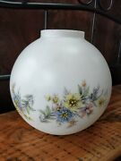 Vtg Glass Globe Ball Lamp Shade Pastel Floral Gwtw Light Parlor 9, 4 Fitter