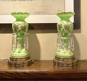 Antique Victorian Green Glass Mantle Lamp Shade 8 Crystal Prisms Made France