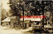 1938 Rppc Photo Sinclair Gas Station The Log Cabin Hiles Wisconsin Vg Opaline