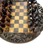 African Wood Carved Chess Board Set. Ebony And Iron Wood With Big Five Animals