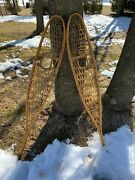 Vintage Gander Mountain Snow Shoes Wood And Rawhide 10andrdquo X 56andrdquo Large Made In Canada