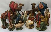 +nativity Holland Mold 17 Piece Set Hand Painted Beautiful Muted Classic