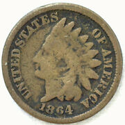 1864 Indian Head Copper Nickel Penny One Cent 1c Us Good Coin