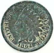 1864 Indian Head Bronze Penny One Cent 1c Us Very Fine Coin Dark