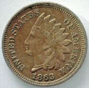 1863 Indian Head Copper Nickel Penny One Cent 1c Us Extra Fine Coin