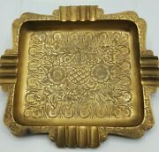 Vintage Large Brass Cigar Ashtray India Engraved Etched Pattern Heavy Patina