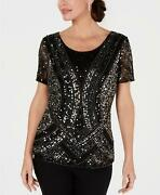 28th And Park Art-deco Embellished Hand-beaded Sequin Top Black Silver/gold M