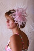 Baby Pink Feather Fascinator Hat - Wedding - Choose Any Colour Satin / Feathers