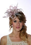 Baby Pink And Nude Taupe Feather Fascinator Hat Choose Any Colour Satin/ Feathers