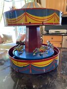 Wolverine No. 31 Tin Lithographed Merry Go Round Carousel W/horses