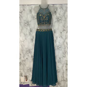 Jjs House Two Piece Dress Peacock Green Beaded Top Skirt Nwt New With Tags