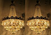 Pair Of Antique Vnt French Basket Style Crystal Chandelier Lamp 1940and039s 16in Dtm