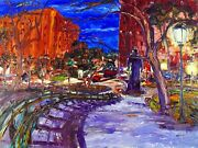 Original Arthur Robins Oil Painting Nyc Madison Square Park With Homeless Man