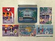 Disney Cruise Line Postcards 10 By Artist Shag Metal Tin Container Included