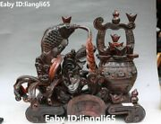 14old Oxhorn Ox Horn Wealth Money Coin Yuanbao Fish Fishes Treasure Bowl Statue