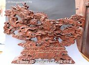 20 Chinese Boxwood Wood Hand Carving 2 Two Dragon Loong Beast Ball Shrines
