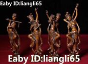 Collect China Boxwood Wood Dynasty Belle Beauty Girl Play Music Statue Full Set