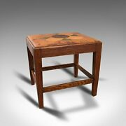 Antique Arts And Crafts Footstool, English, Oak, Leather, After Cotswolds, C.1910