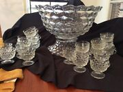 Fostoria Punch Bowl With 20 Cups In America Pattern