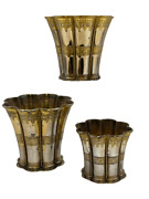 Set Of 3 Queen Margrethe Gilt Sterling Silver Kiddush Cups/ Goblets By A. Michel