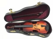 Authentic Models 6 Handmade Miniature Violin And Bow With Red Velvet Lined Case