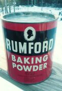 Rumford Baking Powder Empty 10 Lb Can Vintage Store Tin Advertising Usa Red