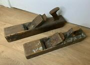 X2 Vintage Wooden Hand Block Planes- Carpenter/woodworking- 17 Length- Old Tool