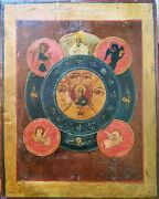 Antique Hand Painted Russian 19c Icon Allseeing Eye Of God