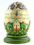 Jim Shore Carved Egg With Its Own Stand. Colorful Church And Village Scene