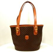 Auth Celine Macadam Dark Brown Brown Pvc And Leather Womens Tote Bag
