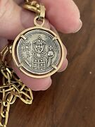 Byzantine Empire Constantine Rare Silver Coin In 14ct Solid Gold Setting And Chain